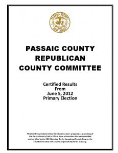 PASSAIC COUNTY REPUBLICAN COUNTY COMMITTEE