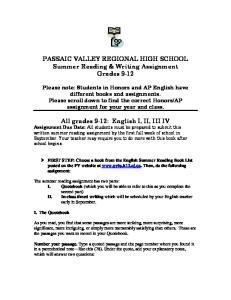 PASSAIC VALLEY REGIONAL HIGH SCHOOL Summer Reading & Writing Assignment Grades 9-12