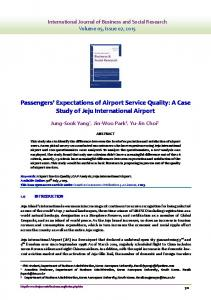 Passengers Expectations of Airport Service Quality: A Case Study of Jeju International Airport