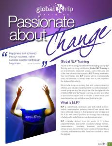 Passionate about. Global NLP Training. What is NLP?