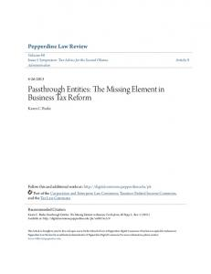 Passthrough Entities: The Missing Element in Business Tax Reform
