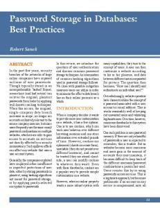 Password Storage in Databases: Best Practices