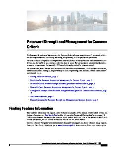 Password Strength and Management for Common Criteria