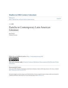 Pastiche in Contemporary Latin American Literature