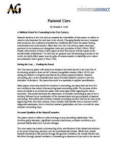 Pastoral Care. By Donald A. Lichi