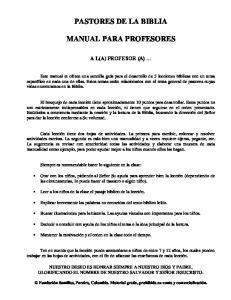 PASTORES DE LA BIBLIA MANUAL PARA PROFESORES