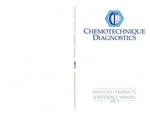PATCH TEST PRODUCTS & REFERENCE MANUAL 2015 CHEMOTECHNIQUE DIAGNOSTICS