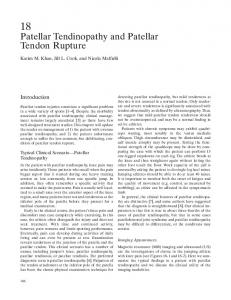 Patellar Tendinopathy and Patellar Tendon Rupture