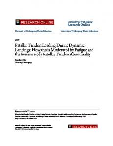 Patellar Tendon Loading During Dynamic Landings: How this is Moderated by Fatigue and the Presence of a Patellar Tendon Abnormality