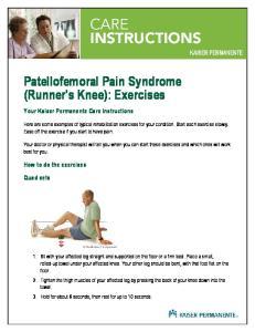 Patellofemoral Pain Syndrome (Runner's Knee): Exercises
