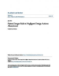 Patent Danger Rule in Negligent Design Actions Abandoned