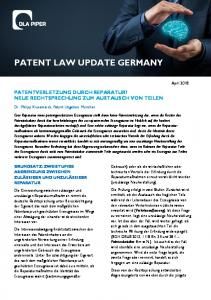 PATENT LAW UPDATE GERMANY
