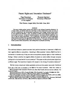 Patent Rights and Innovation Disclosure