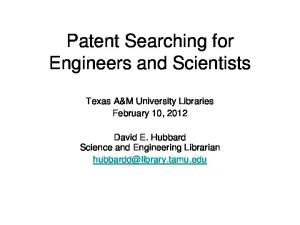 Patent Searching for Engineers and Scientists