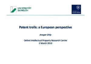 Patent trolls: a European perspective