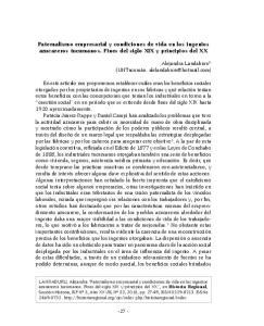 Paternalismo empresarial y condiciones de vida en los ingenios azucareros tucumanos. Fines del siglo XIX y principios del XX
