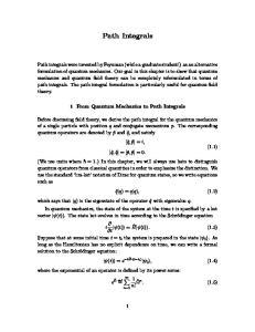 Path Integrals. 1 From Quantum Mechanics to Path Integrals