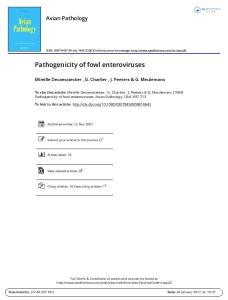 Pathogenicity of fowl enteroviruses