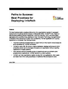Paths to Success: Best Practices for Deploying InfoPath