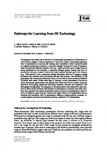 Pathways for Learning from 3D Technology