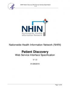 Patient Discovery Web Service Interface Specification