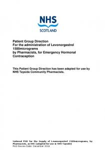Patient Group Direction For the administration of Levonorgestrel 1500micrograms by Pharmacists, for Emergency Hormonal Contraception