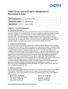 Patient Group Input to Drugs for Management of Rheumatoid Arthritis