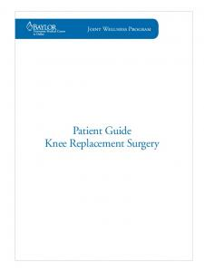 Patient Guide Knee Replacement Surgery