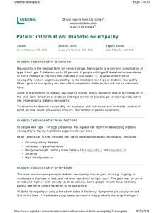 Patient information: Diabetic neuropathy