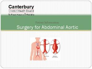 Patient Information Surgery for Abdominal Aortic Aneurysms
