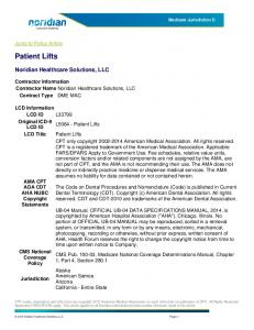 Patient Lifts. Noridian Healthcare Solutions, LLC. Jump to Policy Article