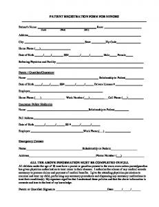 PATIENT REGISTRATION FORM FOR MINORS