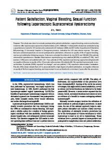 Patient Satisfaction, Vaginal Bleeding, Sexual Function following Laparoscopic Supracervical Hysterectomy
