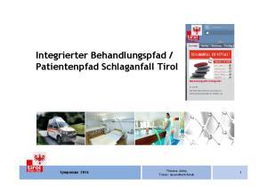 Patientenpfad Schlaganfall Tirol Symposium 2016