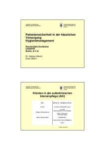 Patientensicherheit in der häuslichen Versorgung Hygienemanagement