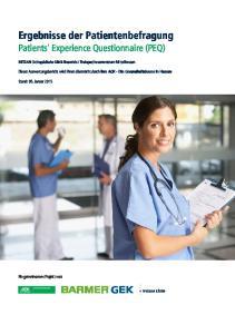Patients' Experience Questionnaire (PEQ)
