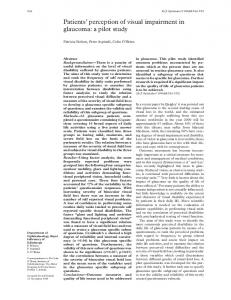 Patients perception of visual impairment in glaucoma: a pilot study