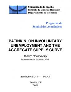 PATINKIN ON INVOLUNTARY UNEMPLOYMENT AND THE AGGREGATE SUPPLY CURVE
