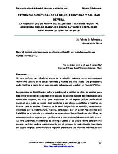 PATRIMONIO CULTURAL DE LA SALUD, IDENTIDAD Y CALIDAD DE VIDA
