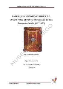 PATRIMONIO HISTÓRICO ESPAÑOL DEL JUEGO Y DEL DEPORTE: Etimologías de San Isidoro de Sevilla ( )