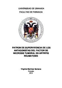 PATRON DE SUPERVIVENCIA DE LOS ANTAGONISTAS DEL FACTOR DE NECROSIS TUMORAL EN ARTRITIS REUMATOIDE