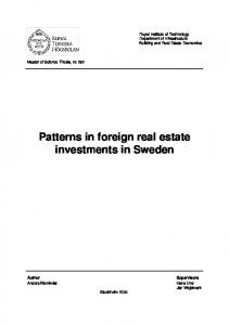 Patterns in foreign real estate investments in Sweden