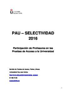 PAU SELECTIVIDAD 2016