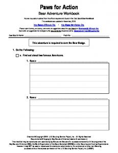 Paws for Action. Bear Adventure Workbook