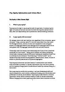 Pay Equity Information and Action Sheet