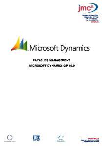 PAYABLES MANAGEMENT MICROSOFT DYNAMICS GP 10.0