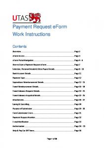 Payment Request eform Work Instructions