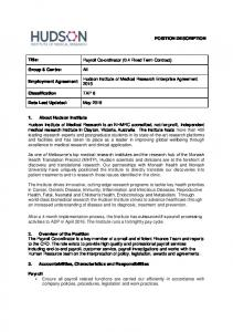 Payroll Co-ordinator (0.4 Fixed Term Contract)