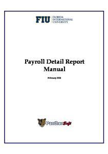 Payroll Detail Report Manual