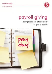 payroll giving a simple and tax-effective way to give to charity